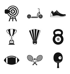 Winner cup icons set simple style vector
