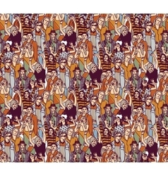 Woman crowd big group color seamless pattern vector image vector image