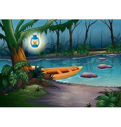 A canoe in a mysterious forest vector image vector image