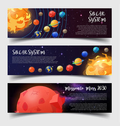banners for solar system astronomy mars mission vector image vector image