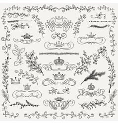 Black hand drawn floral design elements vector