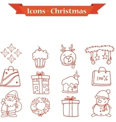 Christmas icons set collection stock vector