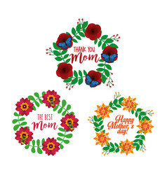 collection floral wreath decoration mothers day vector image