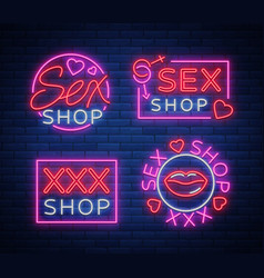 collection logo sex shop night sign in neon style vector image