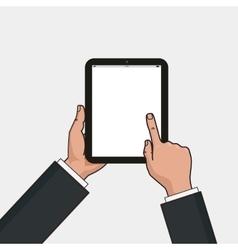 Digital tablet in businessman hands Hands using vector image vector image