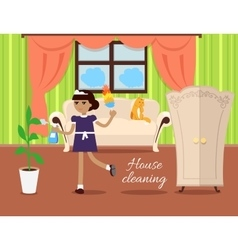 House Cleaning Concept In Flat Design vector image vector image