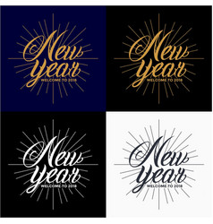 new year 2018 vintage lettering design vector image