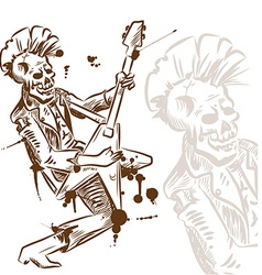 punk rock guitarist hand draw vector image