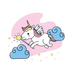 unicorn with wings and magic wand design vector image