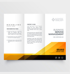 abstract orange and black tri fold brochure vector image vector image
