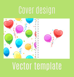 Cover design with cartoon balloons pattern vector