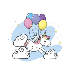 cute unicorn with wings and balloons and clouds vector image vector image
