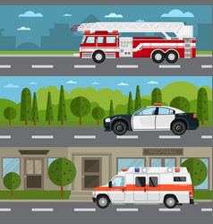 fire truck police and ambulance car on highway vector image vector image