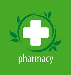 logo for pharmacies on a green background vector image vector image