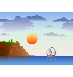 Sea landscape with ship vector image