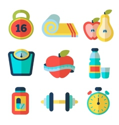 Set of fitness flat icons vector image