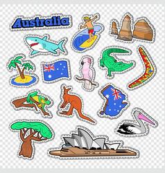 travel to australia doodle australian stickers vector image