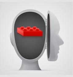 block inside open head logic concept vector image