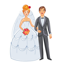 bride and groom funny cartoon character vector image