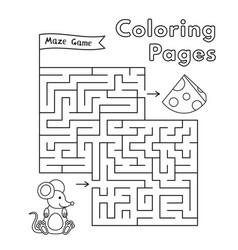 cartoon mouse maze game vector image vector image
