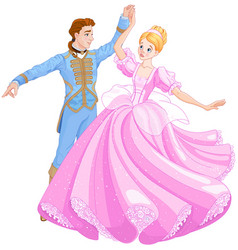 the ball dance of cinderella and prince vector image