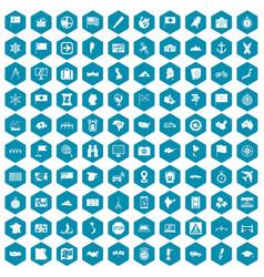 100 cartography icons sapphirine violet vector image