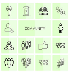 14 community icons vector