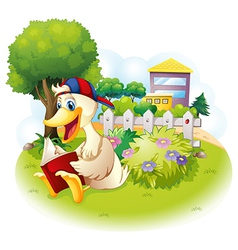 A duck reading at the garden with a fence vector image