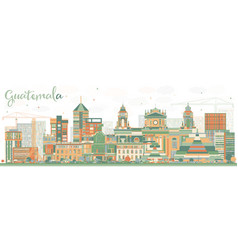 abstract guatemala skyline with color buildings vector image