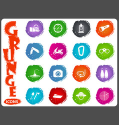 Active recreation icons in grunge style vector