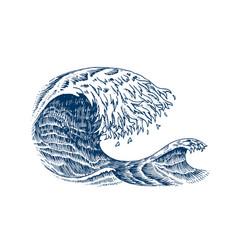 Atlantic tidal waves vintage old engraved hand vector