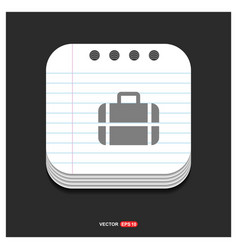 bag icon gray icon on notepad style template eps vector image