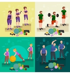 before and after weight loss peoples concept vector image