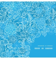 Blue field floral texture frame corner pattern vector