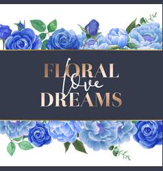 Blue rose flowers watercolor frame beautiful vector