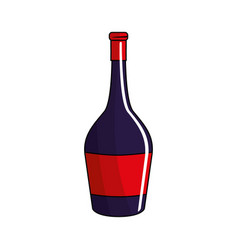 Bottle of wine tasty liquor beverage vector