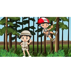 Boy and girl having fun in the forest vector image