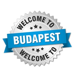 Budapest 3d silver badge with blue ribbon vector