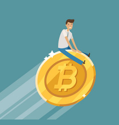 business concept bitcoin crypto currency vector image