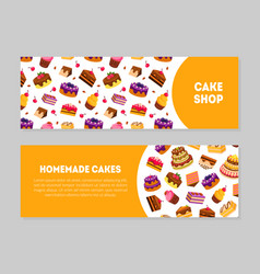 cake shop homemade cakes banner templates set vector image