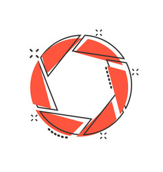 Camera diaphragm icon in comic style lens cartoon vector
