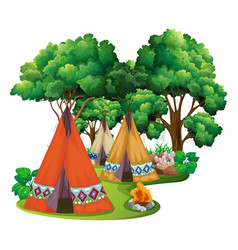 Camping site with teepees and campfire vector
