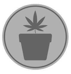 cannabis pot silver coin vector image