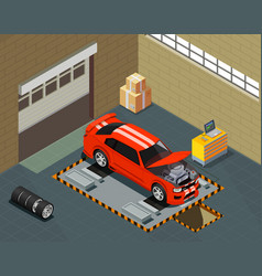 Car tuning isometric composition vector
