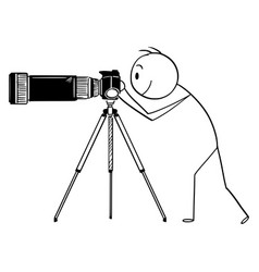 Cartoon man or photographer with camera with vector