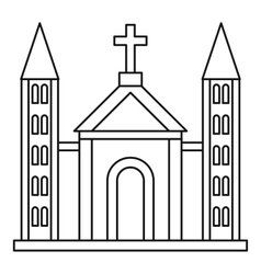 Catholic church building icon outline style vector