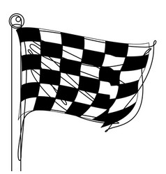 checkered racing flag one continuous line icon vector image