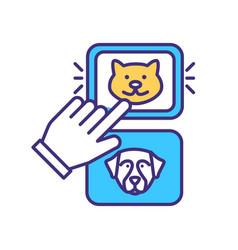 choose pet animal rgb color icon vector image