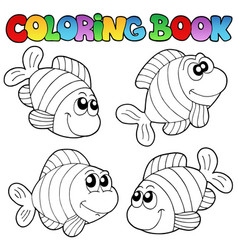 Coloring book with striped fishes vector