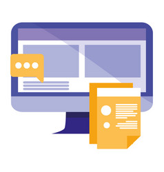 Computer with documents and speech bubble vector